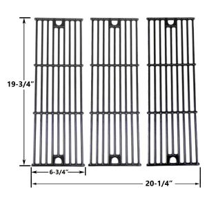 3 PACK GLOSS CAST IRON REPLACEMENT COOKING GRID FOR CHAR-GRILLER 2121, 2123, 2222 AND KING GRILLER 3008, 5252 GAS GRILL MODELS