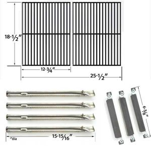 REPAIR KIT FOR KENMORE SEARS 16644 BBQ GAS GRILL INCLUDES 4 STAINLESS STEEL BURNERS, 3 CROSSOVER TUBES AND CAST COOKING GRATES-1