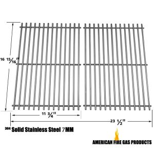 STAINLESS STEEL COOKING GRIDS FOR BRINKMANN 2500, 2500 PRO SERIES, 2600, 2700, 2720, 4425, 4445, 6440, 6650, 6668, 6670, 810-2500, 810-2500-0, 810-2500-1, 810-2600-0, 810-2600-1, 810-2610-0 GAS GRILL MODELS, SET OF 2