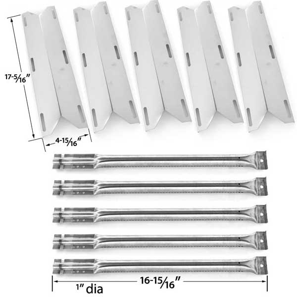 5-PACK-REPLACEMENT-REPAIR-KIT-FOR-CHARMGLOW-720-0396-720-0578-GAS-GRILL-MODELS-5-STAINLESS-STEEL-BURNERS-5-STAINLESS-HEAT-SHIELDS-1