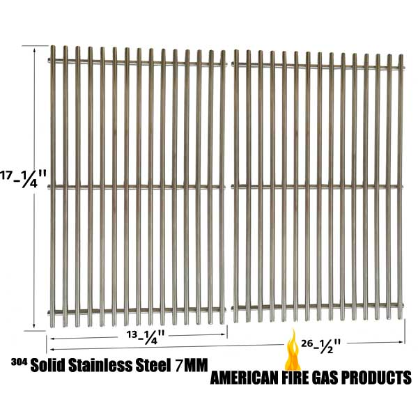 REPLACEMENT STAINLESS STEEL COOKING GRATES FOR CHARBROIL 463411512, 463411712, 463411911, C-45G4CB AND MASTER FORGE 1010037 GAS GRILL MODELS, SET OF 2