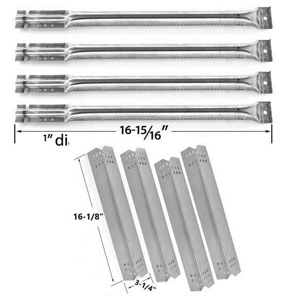 KITCHEN-AID-720-0733A-GAS-GRILL-REPAIR-KIT-INCLUDES-4-STAINLESS-HEAT-PLATES-AND-4-STAINLESS-STEEL-BURNERS-1