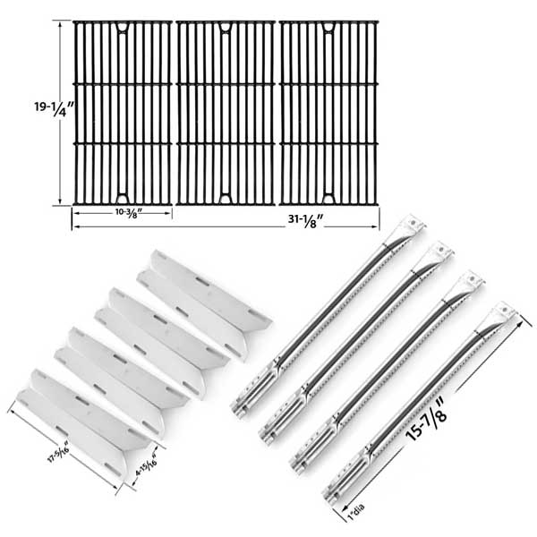 REPAIR-KIT-FOR-CHARMGLOW720-0536-4-BURNER-BBQ-GAS-GRILL-INCLUDES-4-STAINLESS-BURNERS-4-STAINLESS-HEAT-PLATES-AND-PORCELAIN-CAST-COOKING-GRIDS-1