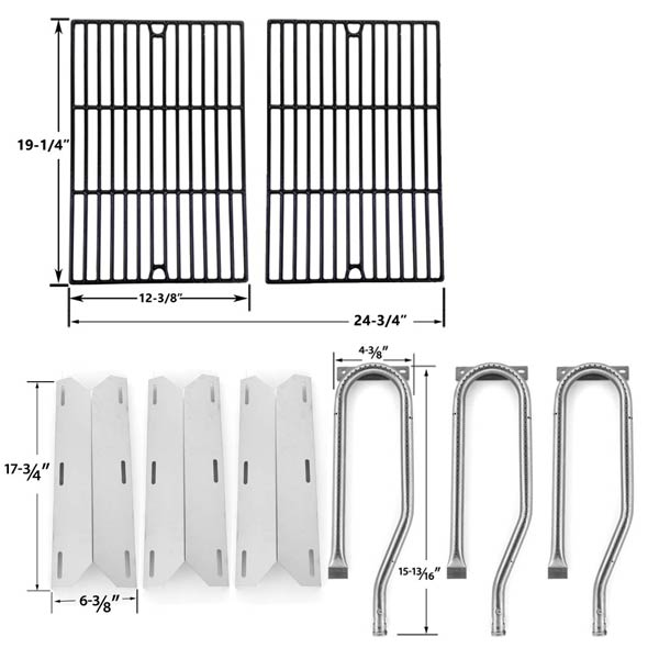 REPAIR-KIT-FOR-JENN-AIR-720-0336-7200336-720-0336-BBQ-GAS-GRILL-INCLUDES-3-STAINLESS-BURNER-3-STAINLESS-HEAT-PLATES-AND-PORCELAIN-CAST-COOKING-GRATES-1