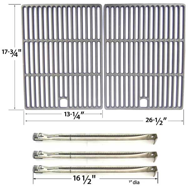repair-kit-for-perfect-flame-slg2007b-63033-slg2007bn-64876-bbq-gas-grill-includes-3-stainless-burners-and-cast-iron-cooking-grates