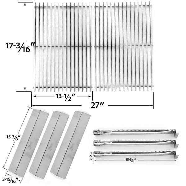 REPAIR-KIT-FOR-UNIFLAME-GBC983W-C-3 BURNER-BBQ-GAS-GRILL-INCLUDES-3-STAINLESS-BURNERS-3-STAINLESS-HEAT-PLATES-AND-STAINLESS-COOKING-GRIDS-1