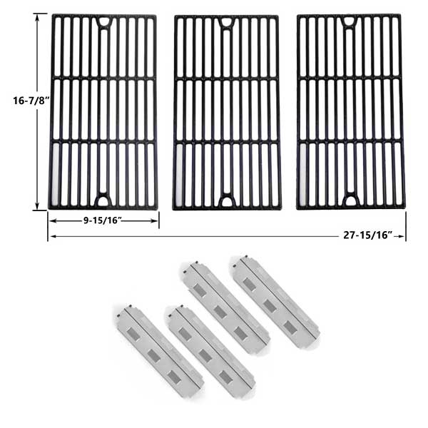 REPLACEMENT-CHARBROIL-463420507-463420509-463460708-463460710-BBQ-REPAIR-KIT-4-HEAT-PLATES-AND-PORCELAIN-CAST-COOKING-GRATES-SET-OF-3-1