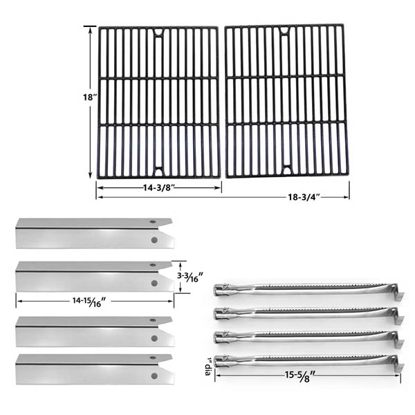 REPLACEMENT-FOR-UNIFLAME-GBC850W-GAS-GRILL-REPAIR-KIT-INCLUDES-4-STAINLESS-HEAT-PLATES-4-STAINLESS-STEEL-BURNERS-AND-PORCELAIN-CAST-GRATES-1