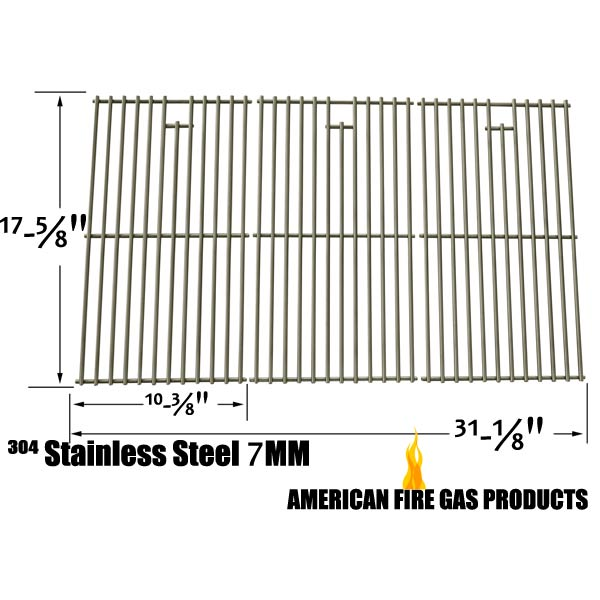 REPLACEMENT STAINLESS COOKING GRID FOR SELECT GAS GRILL MODELS BY NEXGRILL 720,0744, 85-3225-6, KENMORE 148.16656010 AND UNIFLAME GBC976W, GBT806G, SET OF 3