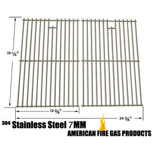 STAINLESS COOKING GRID FOR BRINKMANN AUGUSTA 810-4040-B, AUSTIN 810-6330-B, GRAND GOURMET 2250, 810-2250-0, GAS GRILL MODELS, SET OF 2