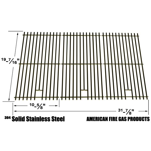 STAINLESS STEEL COOKING GRID REPLACEMENT FOR CHARBROIL 463268207, 463268806 AND PRESIDENTS CHOICE GSS3220JS, GSS3220JSN, PC25762, PC25774 GAS GRILL MODELS, SET OF 3