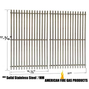 STAINLESS STEEL REPLACEMENT COOKING GRID FOR BRINKMANN 810-9490-0, GRILL MASTER 720-0697, NEXGRILL 720-0697, TERA GEAR 13013007TG AND UNIFLAME GBC091W, GBC940WIR, GBC956W1NG-C, GBC981W, GBC981W-C, GBC983W-C GAS GRILL MODELS, SET OF 2