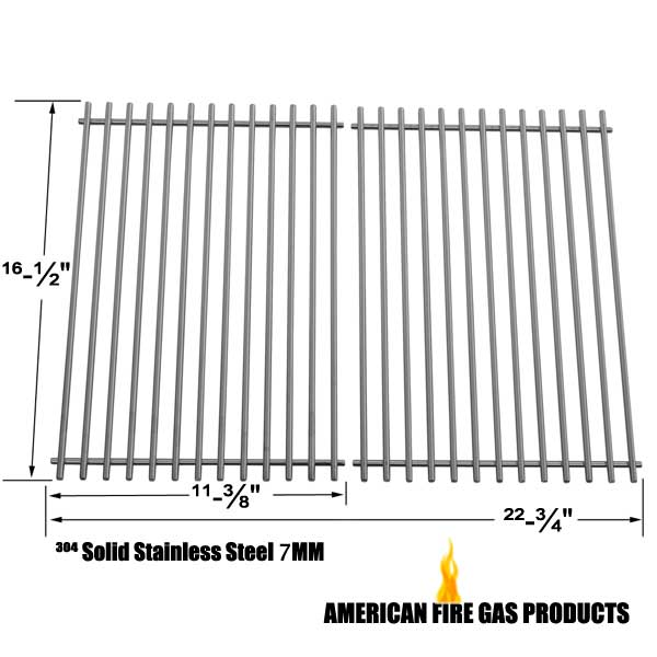 STAINLESS STEEL REPLACEMENT COOKING GRID FOR ELLIPSE 2000LP, 2000NG, 2001LP, 2001NG, 22103, 2104, 2105, 2107, 2108, 2100, 2101, 2102, 2103, KENMORE 2104, 2105, 2107, 2108, 141.15227, 141.152271, 141.15337 GAS GRILL MODELS, SET OF 2