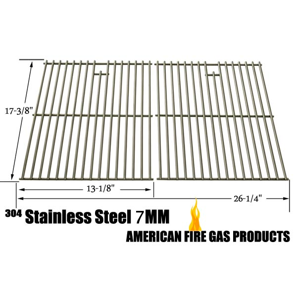 STAINLESS STEEL REPLACEMENT COOKING GRID FOR GRILL MASTER 720-0670E, 720-0670-E AND BROIL-KING 9615-54, 9615-57, 9615-64, 9615-67, 9625-54, 9625-64, 9625-84, 9625-87 GAS GRILL MODELS, SET OF 2