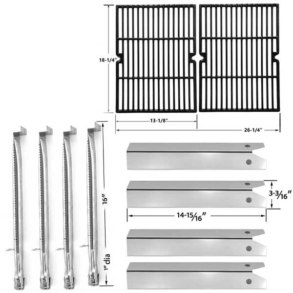 UNIFLAME-PINEHURST-GBC750W-GAS-BBQ-GRILL-REPLACEMENT-4-STAINLESS-BURNERS-4-STAINLESS-HEAT-PLATES-PORCELAIN-CAST-COOKING-GRATES-1