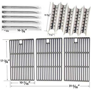 master-forge-5-burner-3218lt-3218ltn-l3218-gas-grill-repair-kit-includes-5-stainless-burners-5-heat-shields-and-porcelain-castl-cooking-grate