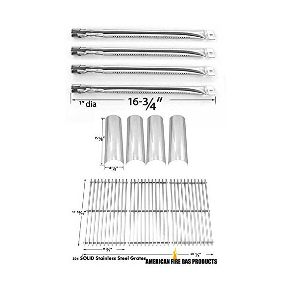 MASTER FORGE GAS GRILL P3018 REPAIR KIT INCLUDES FOUR STAINLESS BURNERS, FOUR HEAT SHIELDS AND THREE GRILL GRATES