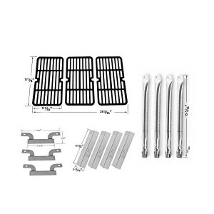 REPAIR KIT FOR BRINKMANN 810-1420-0 BBQ GAS GRILL INCLUDES 4 STAINLESS STEEL BURNERS, 4 STAINLESS STEEL HEAT PLATES, 3 CROSSOVER TUBES AND STAMPED PORCELAIN STEEL GRATES