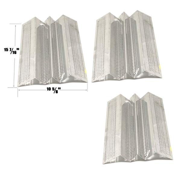 STAINLESS HEAT SHIELD FOR AMERICAN OUTDOOR GRILL 36NB, AMERICAN OUTDOOR GRILL 36PC GAS MODELS, SET OF 3