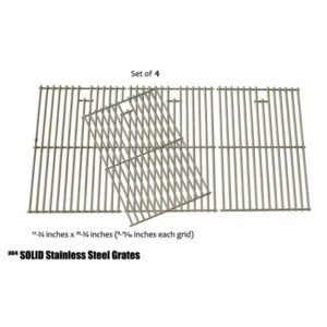 STAINLES COOKING GRATES FOR BRINKMANN 810-8445-W, 810-8446-N, 810-8448-F, 810-9610-F, 810-9620-0 GAS MODELS, SET OF 4