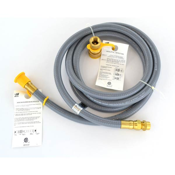 "12 FT NATURAL GAS 3/8"" HOSE WITH QUICK CONNECT 3/8-INCH FOR NAPOLEON 405RB, 450, 450RB, 450RSB, COLEMAN, MASTER CHEF & BROIL KING 8342-67, 8342-87 GAS MODELS"