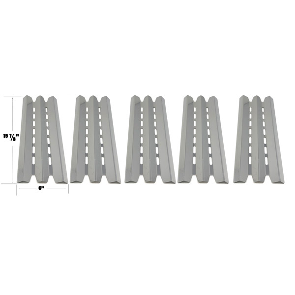 GRILL REPLACEMENT STAINLESS STEEL 5 PACK HEAT PLATE FOR STERLING 5120-64, 5120-67, BROIL-MATE 781254B, 781257, BROIL KING 9215-64 & HUNTINGTON 6113-53 GRILL MODELS
