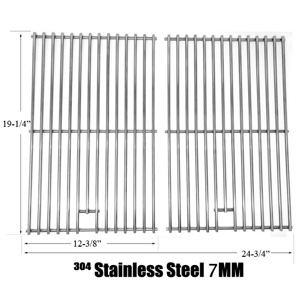 REPLACEMENT STAINLESS STEEL COOKING GRATES FOR JENN AIR & NEXGRILL GAS MODELS. SET OF 2